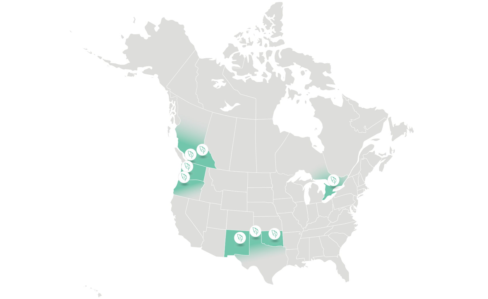 Map of Ecotex service areas in North America